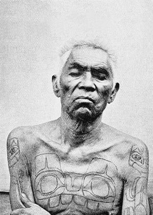 same tattoo), and photographs of Haida people showing their tattoos