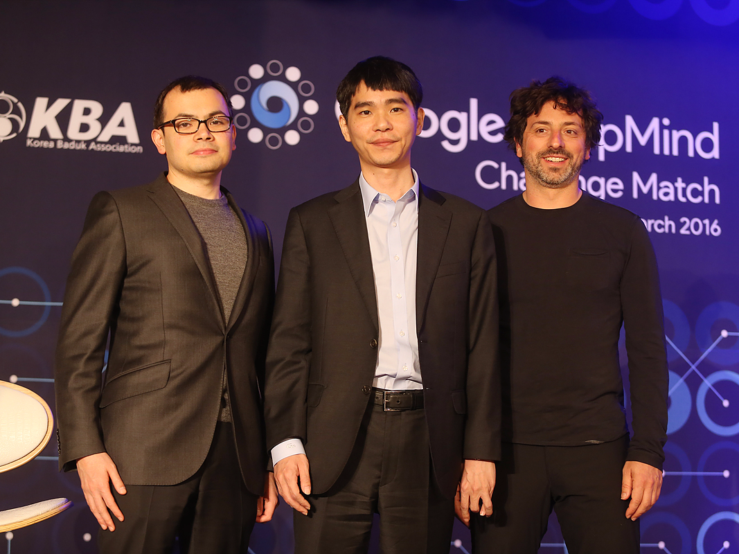 From left to right: DeepMind CEO Demis Hassabis, Go champion Lee Sedol, and Alphabet president Sergey Brin.