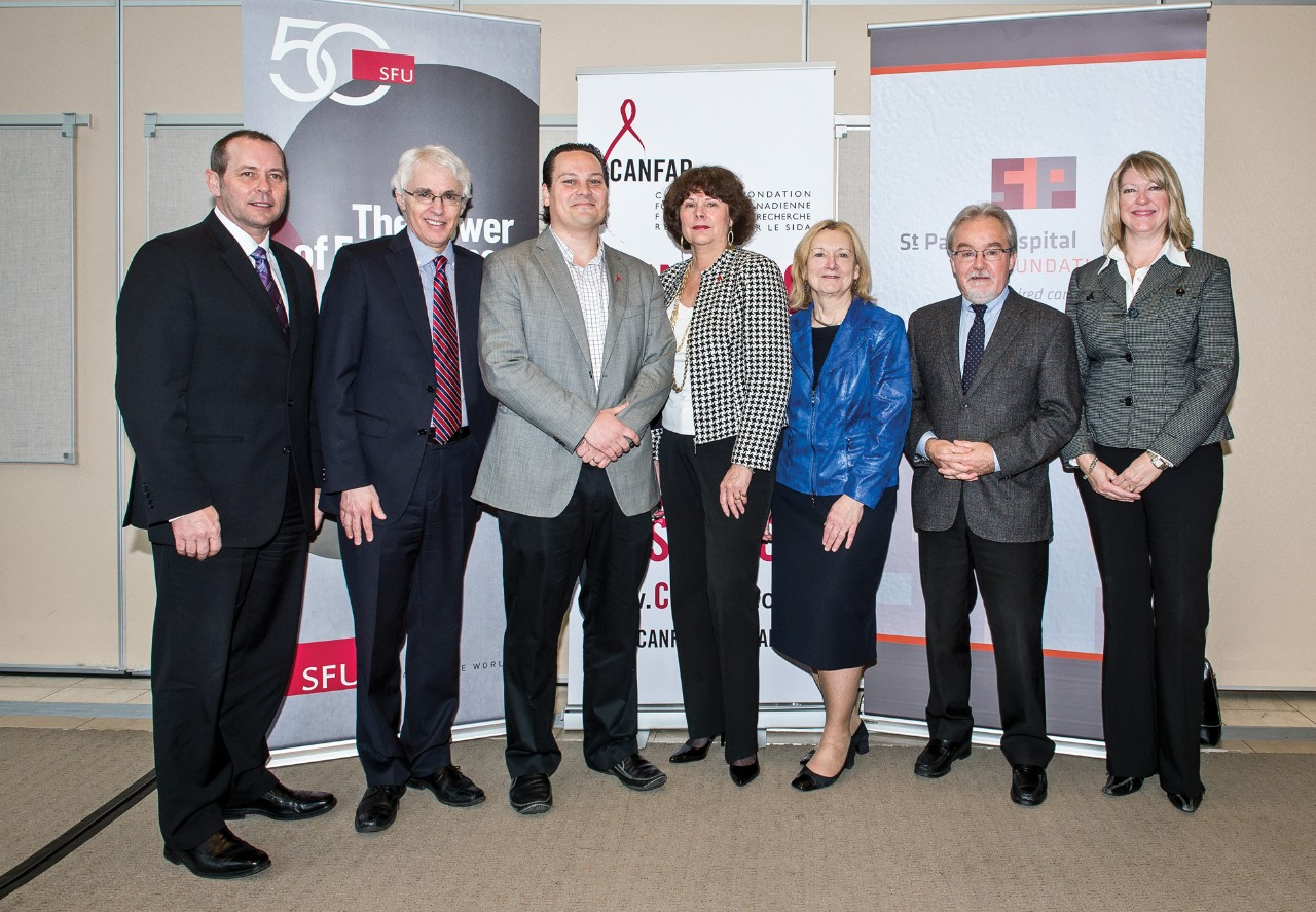 St. Paul's Hospital CANFAR chair in HIV/AIDS Research (left to right): Dick Vollet, CEO, St. Paul's Hospital Foundation; Andrew Petter, president and vice-chancellor SFU; recipient Bohdan Nosyk; Irene Day, director of operations, BC-CfE; Diane Doyle, CEO, St. Paul's Hospital; John O'Neil, dean, SFU faculty of Health Sciences; and Chris Arnet, executive director, SFU Advancement