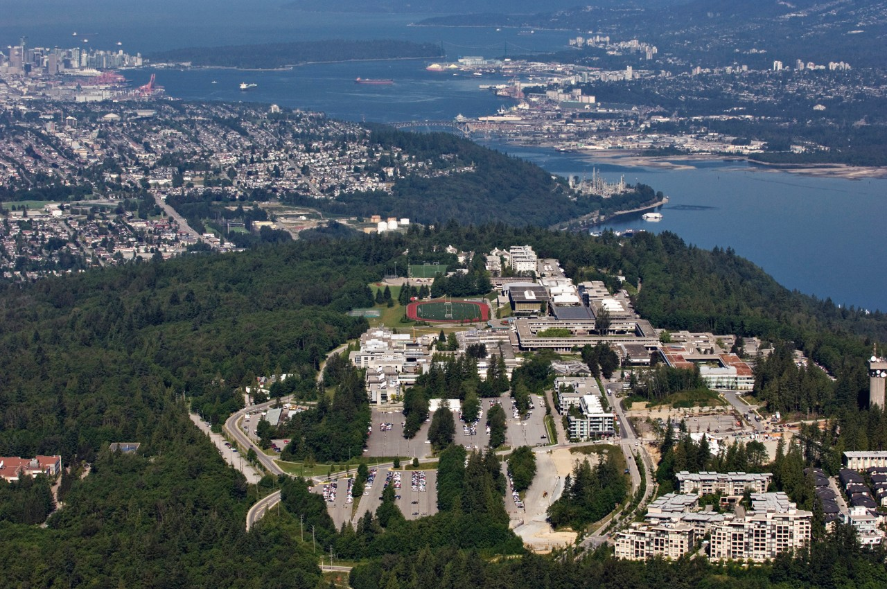 View of SFU, with Vancouver in the background