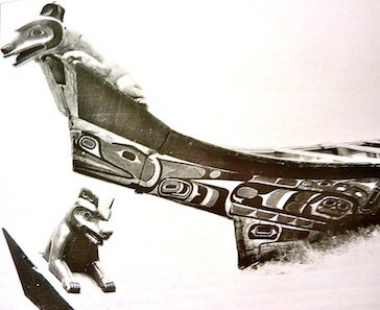 Crest figures of bears attached to a Tlingit Chief's canoe for ceremonial purposes.