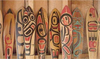 Canoe paddles at the Haida Heritage Centre