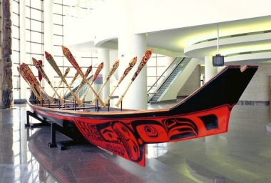 Bill Reid's Black Eagle Canoe and paddles built in 1987, now part of the collection at the Bill Reid Gallery