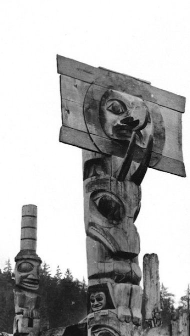 Haida mortuary pole at Skidegate