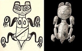 Left: J.G. Swan sketch. Right: Bill Reid Haida Bear Brooch, 1955, Kenji Nagai photo.