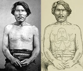 Chief Gitkun (Kitkun) with codfish chest tattoo, and salmon on lower arms. Left: A.P. Niblack photo. Right: J.G. Swan sketch.