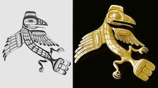 Left: Charles Edenshaw Raven design. Right: Bill Stannis Raven Brooch ca. 1954, Bill McLennan photo.