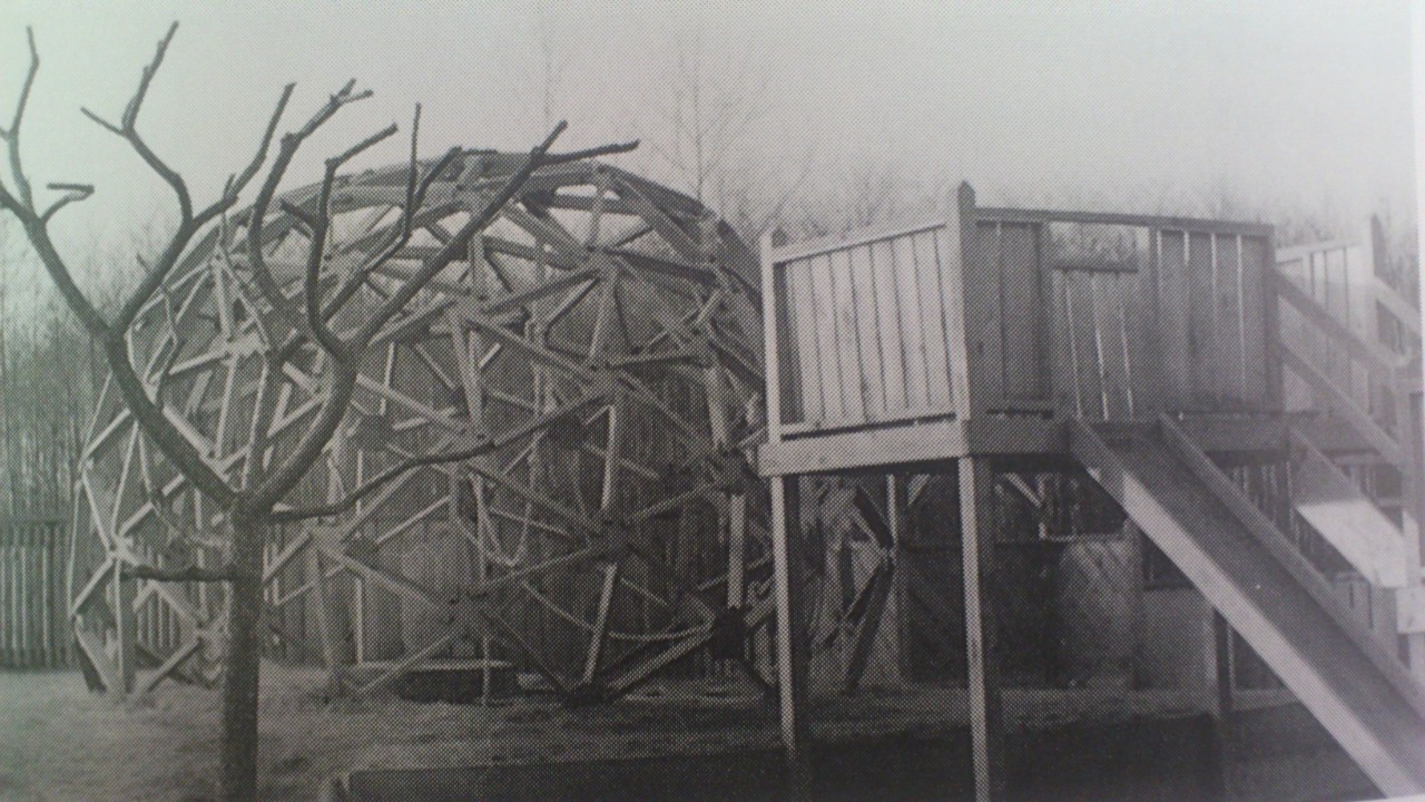 A historical photo of a playground structure