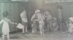 Historical photo of children playing