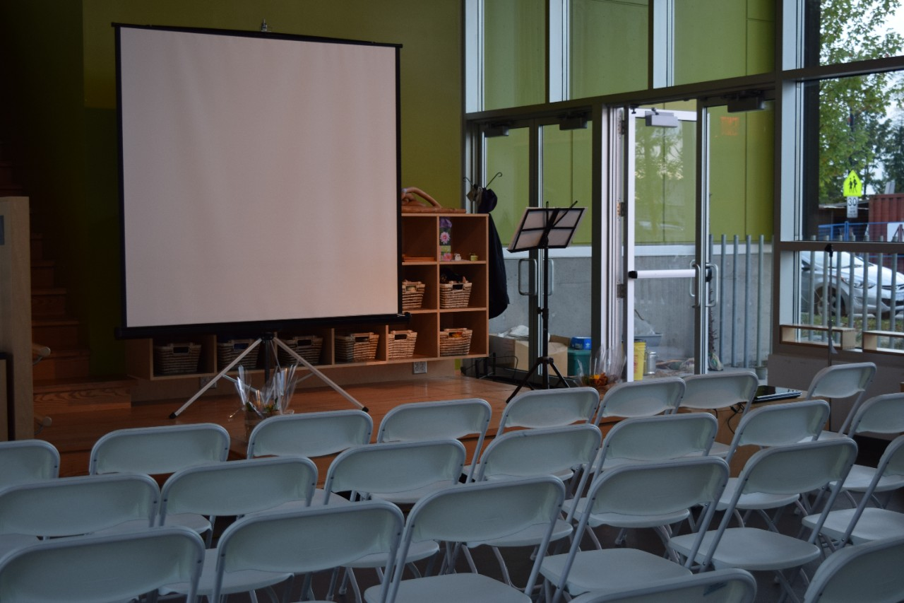Chairs and screen set up for AGM