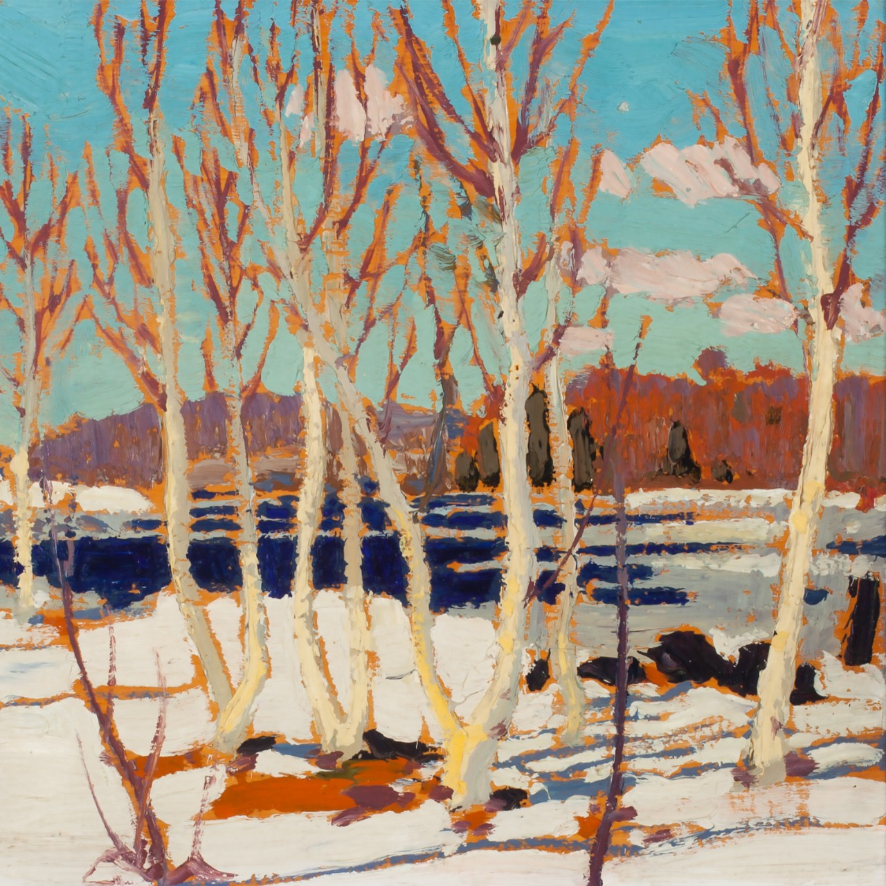 "Tom Thomson (1877-1917). ""April in Algonquin Park"" (detail), 1917. Oil on wood panel, 21.5 x 26.6 cm. Collection of the Tom Thomson Art Gallery, Owen Sound Ontario, gift of George Thomson, brother of Tom Thomson, 1967. Photo: Michelle Wilson."