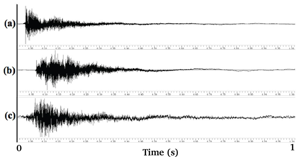 Figure 11: Waveform Representation of Rippler's recordings for a single strike: (a) H model, single-actuation (b) H-model, double actuation (c) V-model