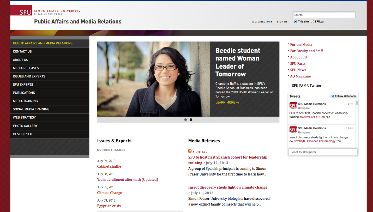 template gallery content management system simon fraser university