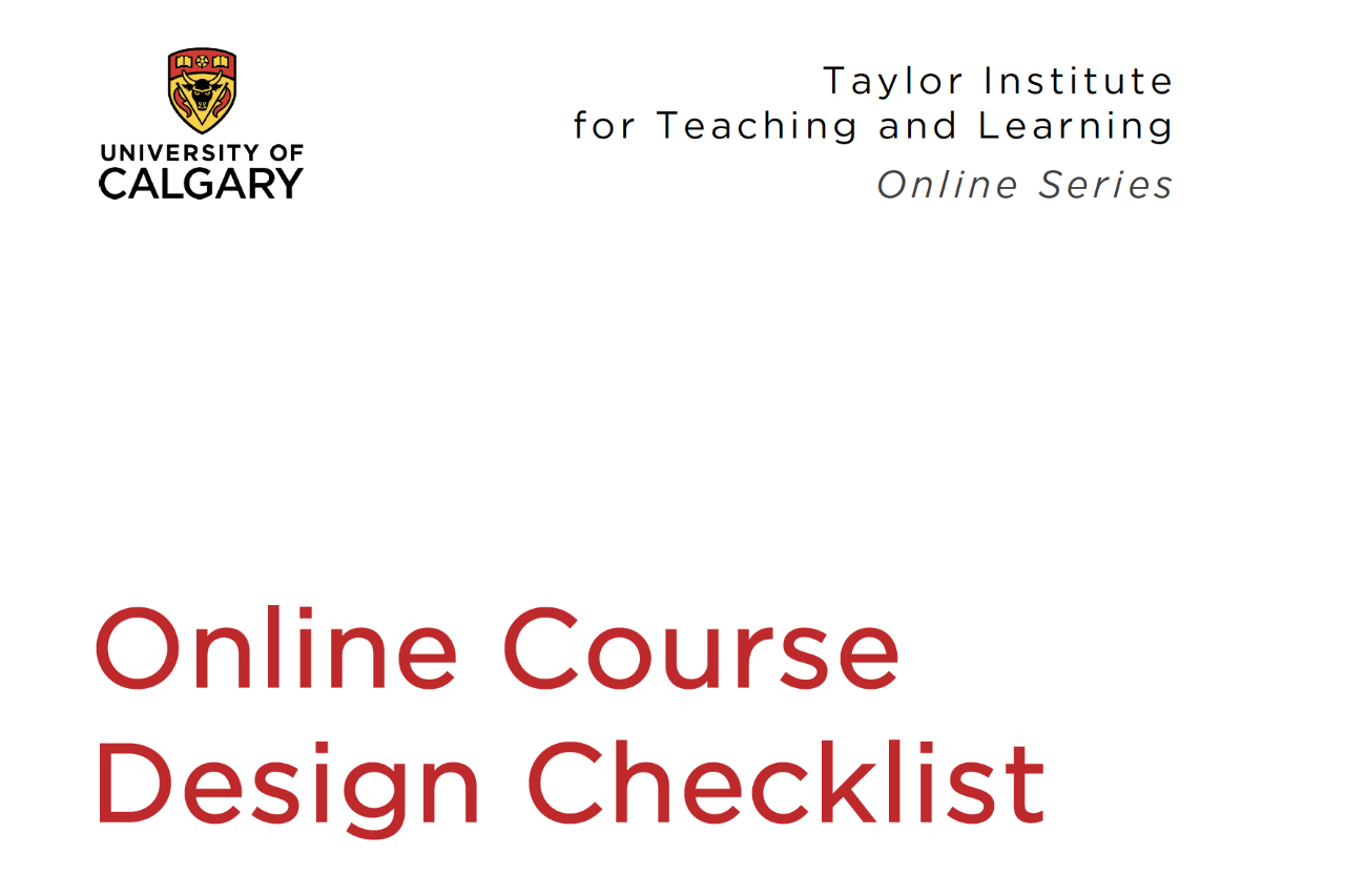 Online course design checklist