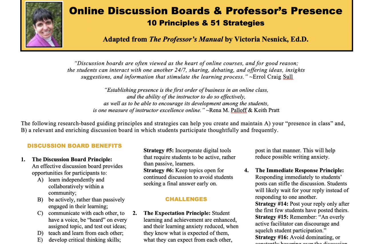 Discussion board principles and strategies