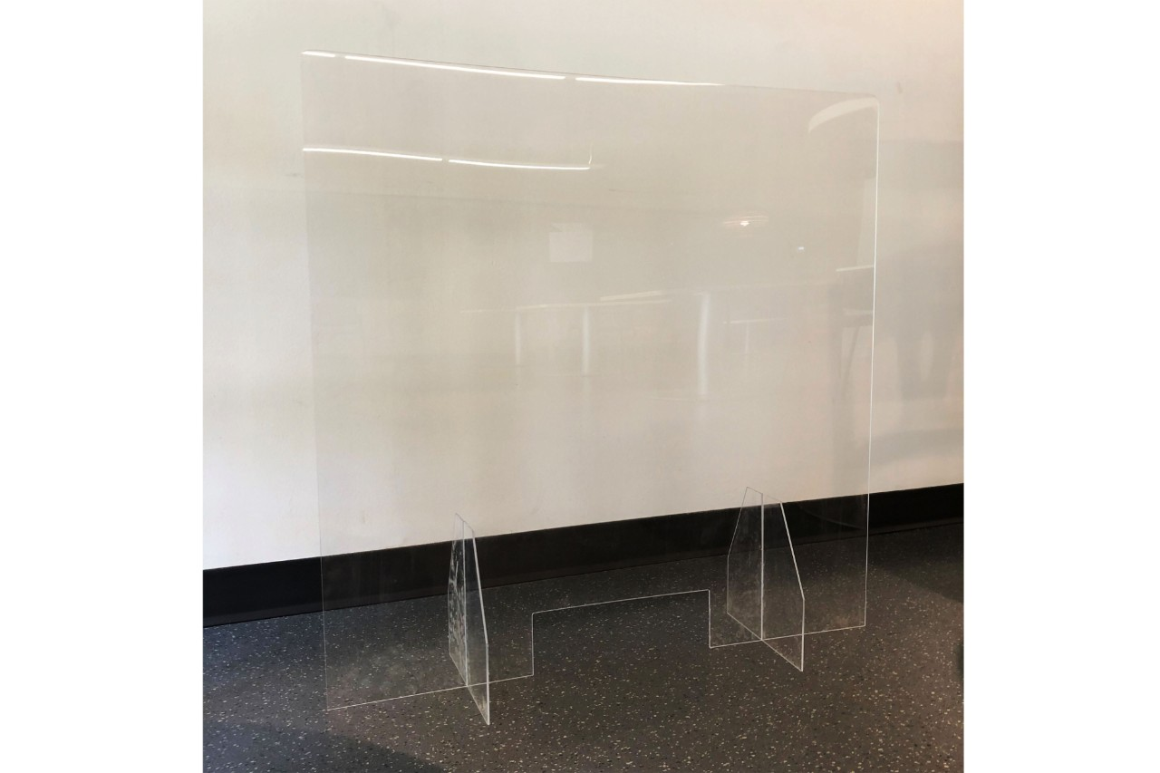 "42""W x 36""H Desktop Barrier w/ Transaction Cutout"