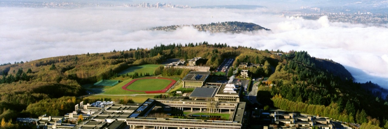 aerial image SFU campus in the mist