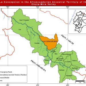 Location of La Concepcion Parish in the Afroecuadorian Ancestral Territory of th