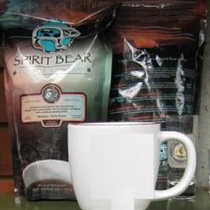 Coffee packaging by Tsimshian artist Bill Helin