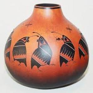 """Mimbres Quail Gourd Pot"" by Robert Rivera"