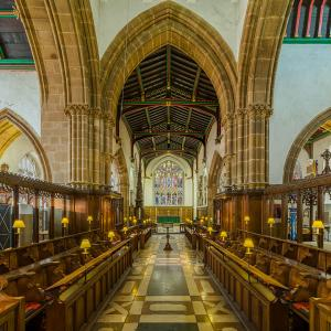 the choir of Leicester Cathedral looking east, in Leicestershire, England. King