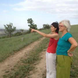 Aida Abdykanova and Caroline Beebe, overlooking Bishkek.