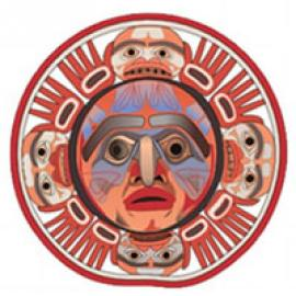 Nuxalk sun mask logo of Nuxalk.Nation.org