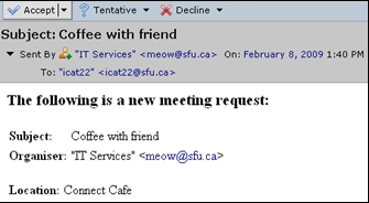 SFU Connect How To Guides Responding Meeting Invitations