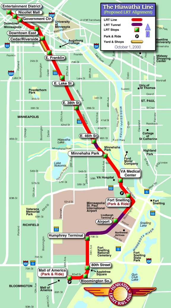 Minneapolis Light Rail System And Map