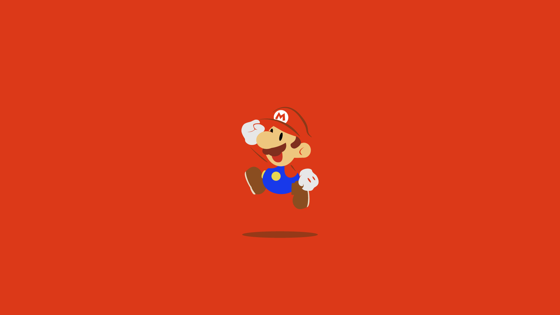 Red Desktop Wallpaper With Super Mario Jumping