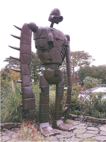 Life size robot soldier from movies 'Lupin III Part II' and 'Castle In The Sky', Ghibli Museum, Mitaka, Japan