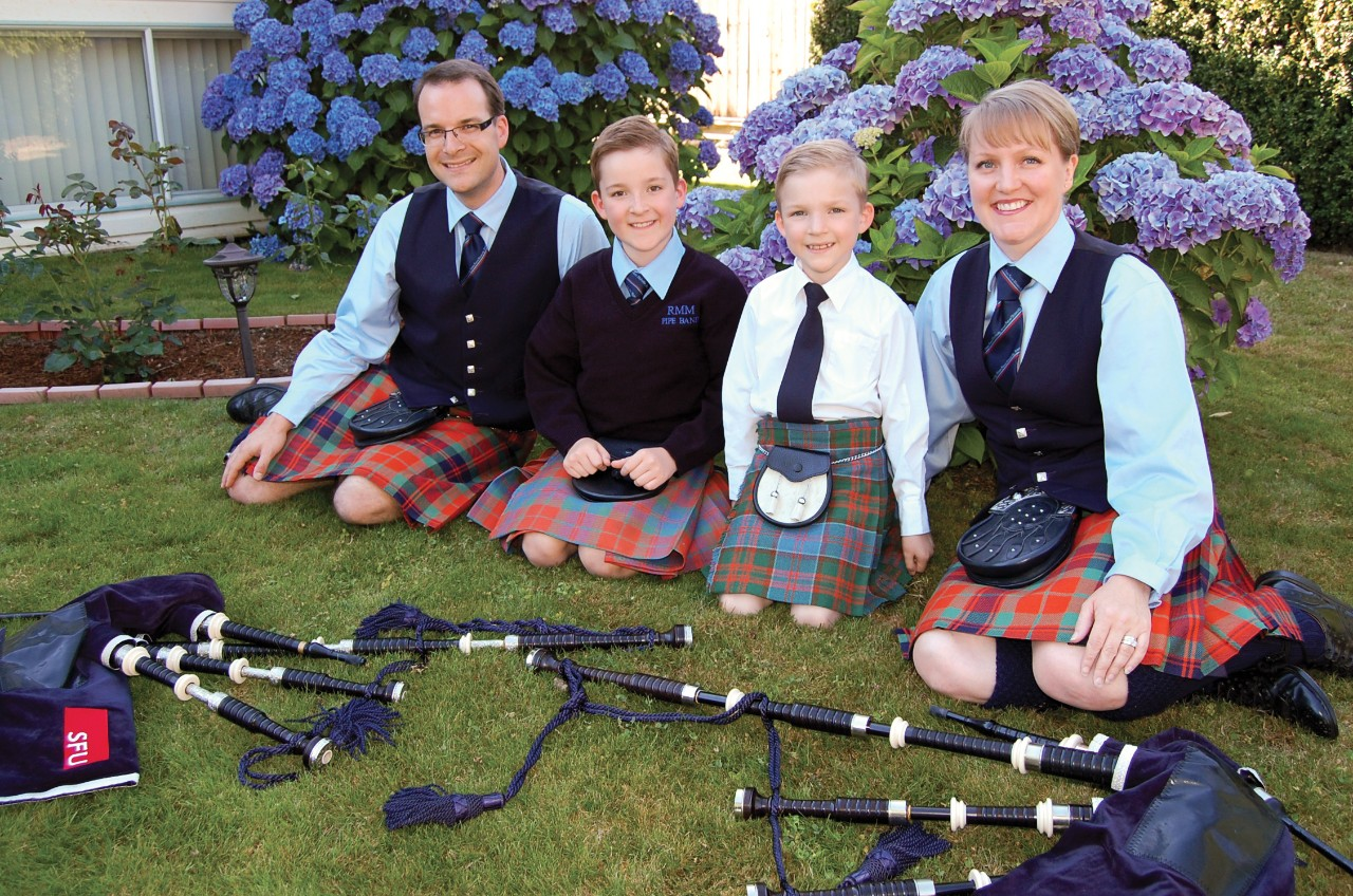 The piping Bevan family: from left, Alan, Alistair, Callum, and Bonnie Bevan play the pipes together.