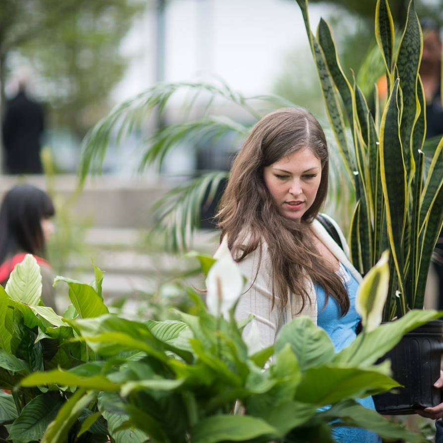 student surrounded by plants