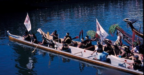 Salish Canoe and crew at Victoria festival
