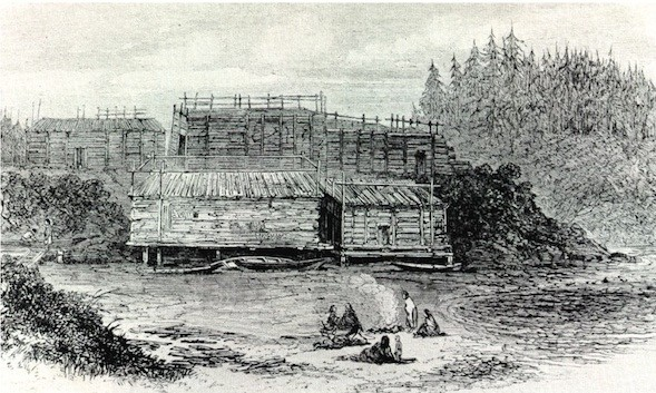 An example of shed roof houses from a village at Nitnat Narrows