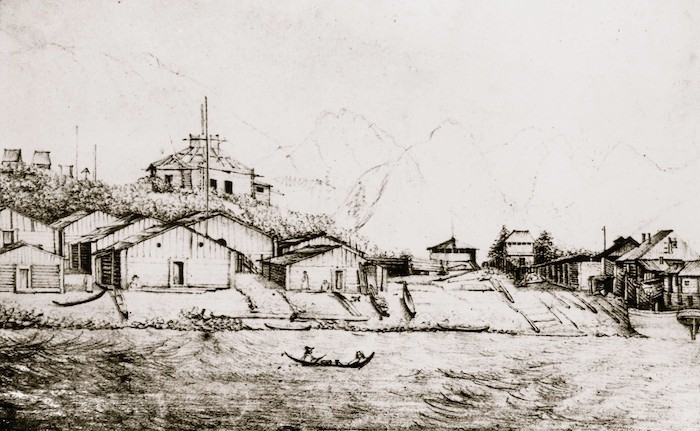 Drawing of Russian and Tlingit buildings at Sitka, Alaska in 1843.