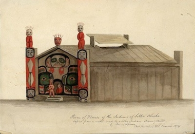 Painting of a Tlingit house model from Sitka, Alaska