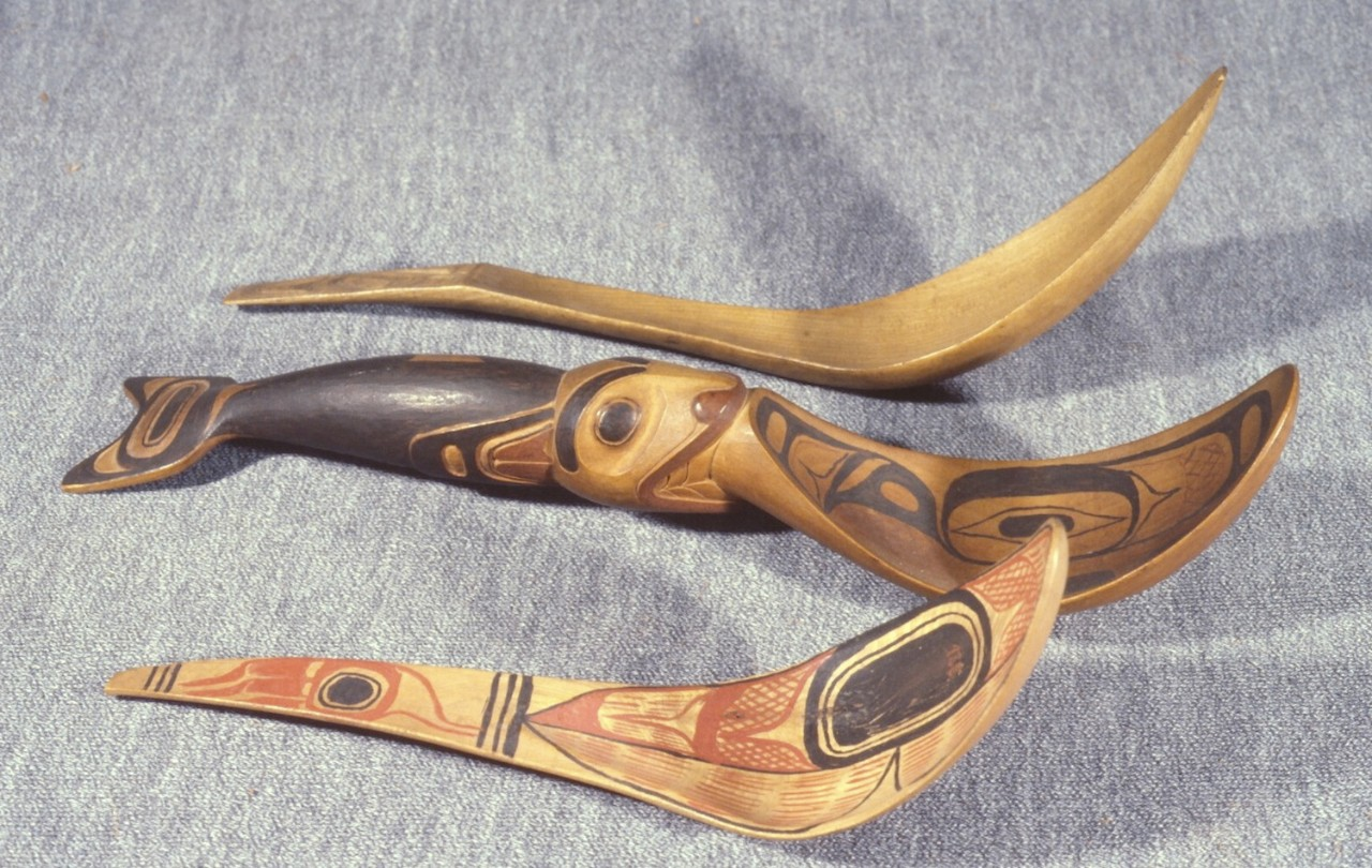 carved and painted spoons