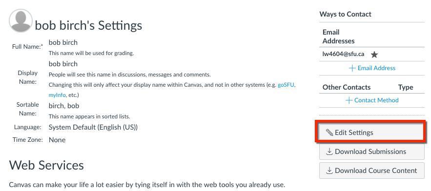 Change your Canvas display name - Canvas Support - Simon