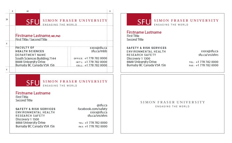 business cards  sfu common look and feel  simon fraser