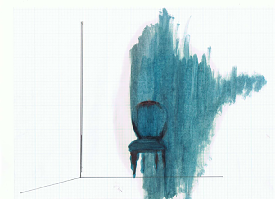 "Residual Spaces – Victorian chair and wall, Penny Leong Browne, Oil, ash and pen on graph paper, 11"" wide X 8 1/2"" high, 2012"