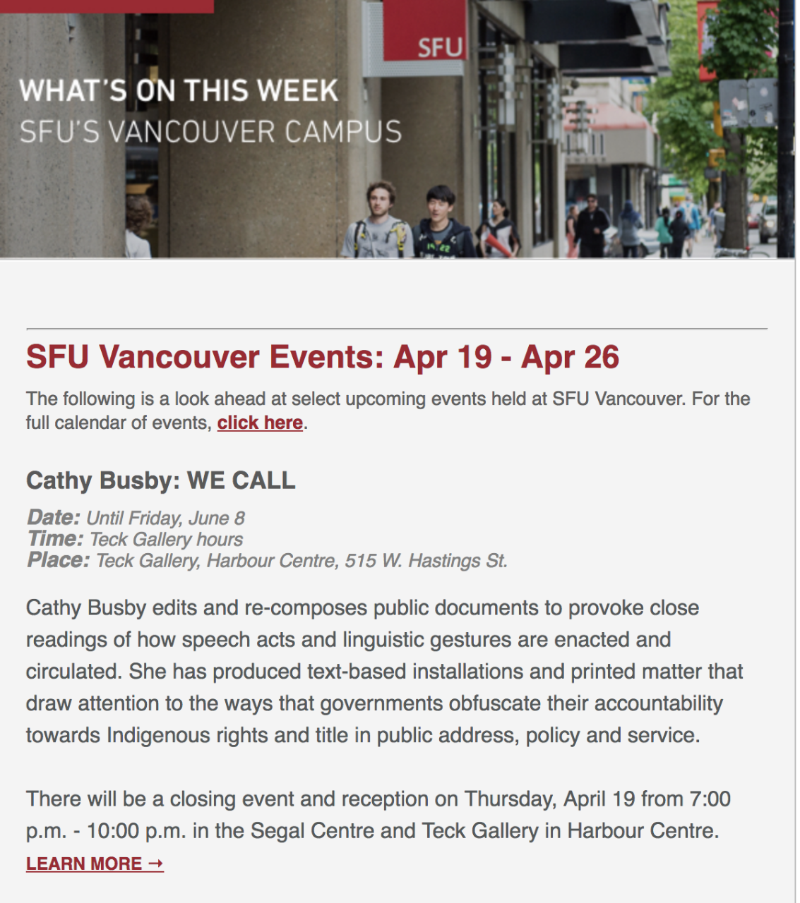 Vancouver campus bulletin