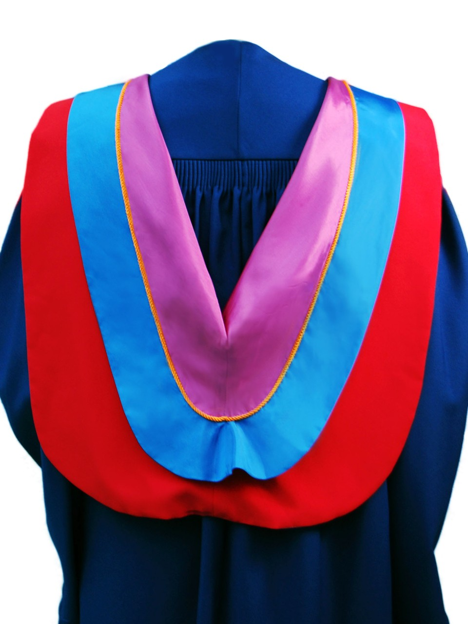 The Master of Arts in Liberal Studies hood is Red with wide blue border, orange cording and plum underside