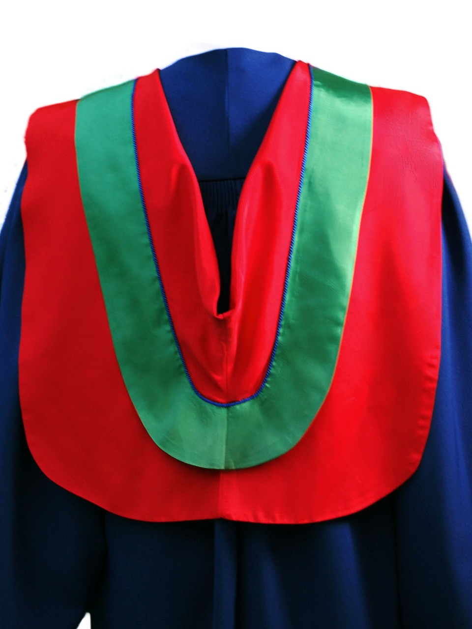 The Master of Arts in the Faculty of Communication, Art and Technology hood is red with wide green border, royal blue cording