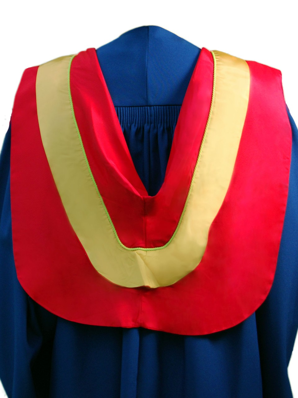 The Master of Pest Management hood is red with wide gold border and light green coding