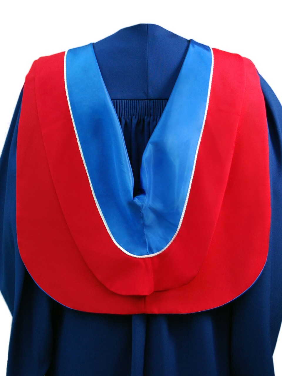 The Master of Public Policy hood is red with blue underside and white cording.