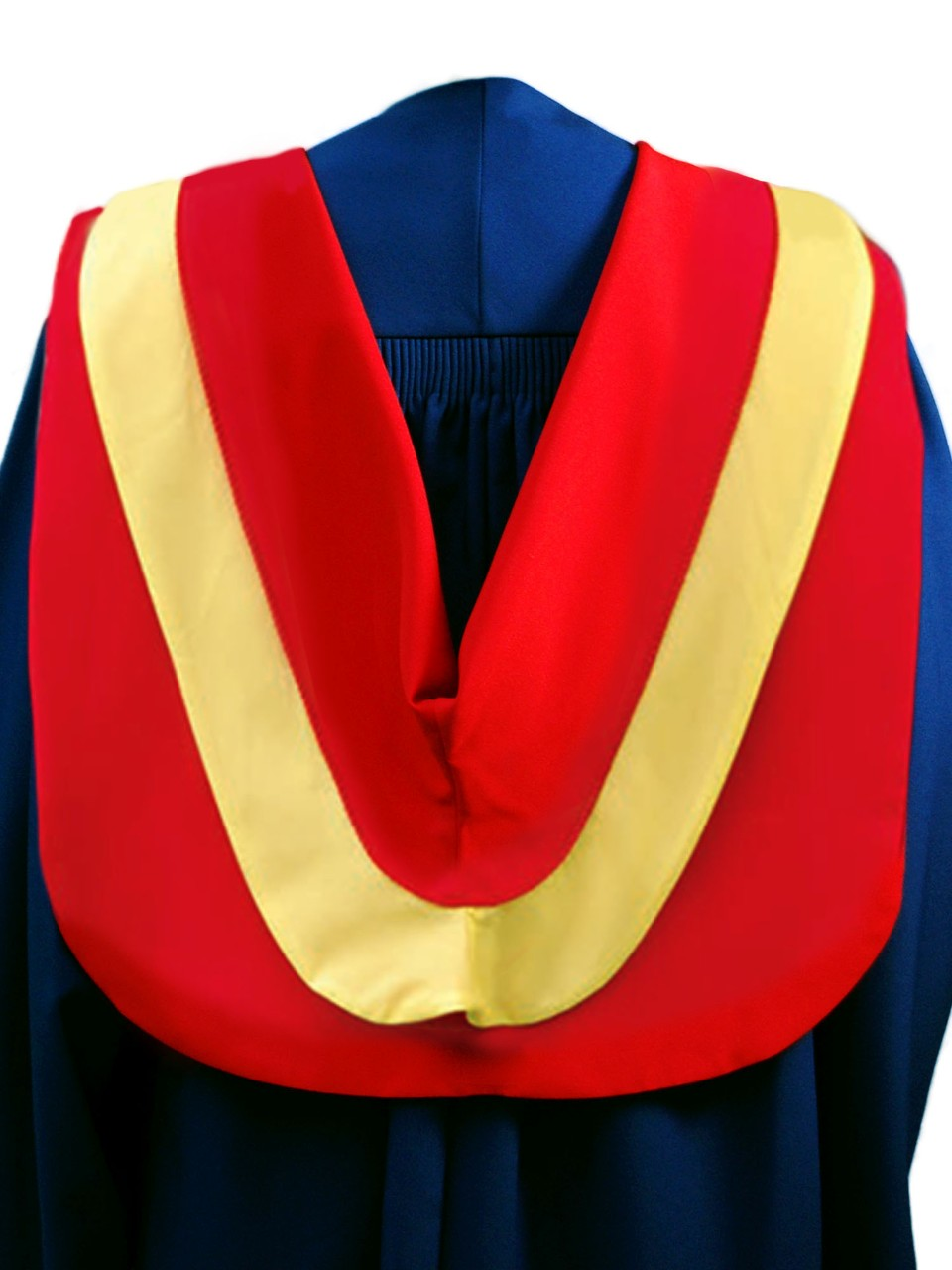 The Master of Public Health hood is red with wide yellow border, red cording