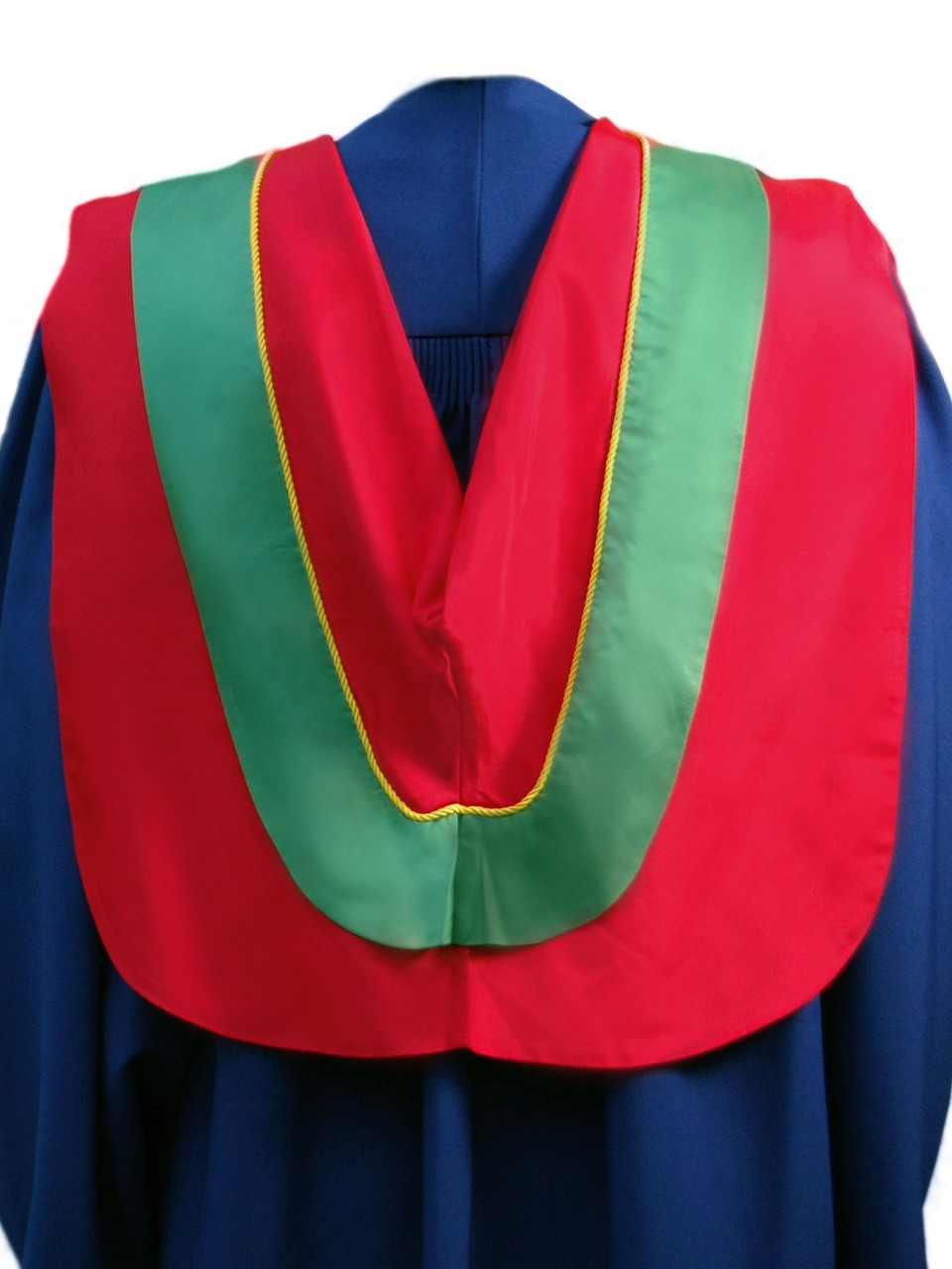 The Master of Resource Management hood is red with wide green border and gold cording
