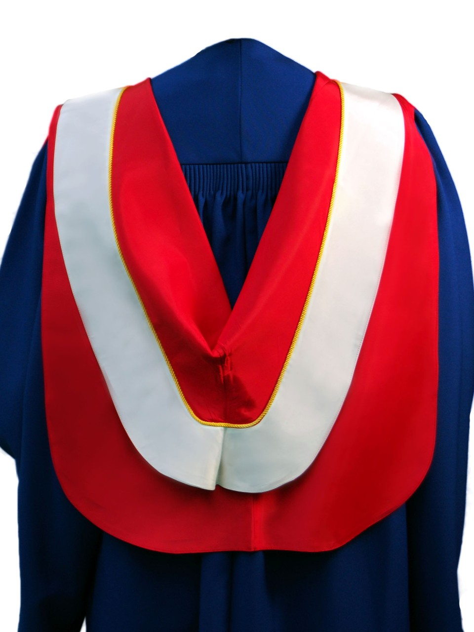The Master of Science in the Faculty of Education hood is red with wide white border and gold cording