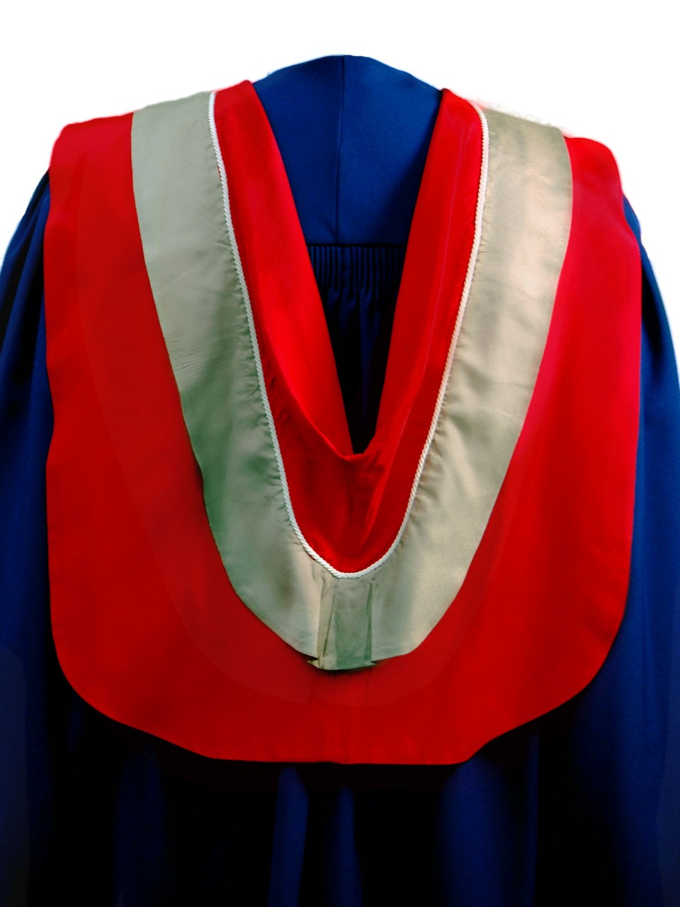 The Master of Science in the Faculty of Communication, Arts and Technology hood is red with wide fawn border and white cording